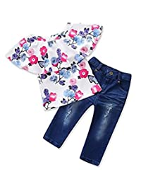 MOUSYA Toddler Baby Girls Off Shoulder Floral Tops Denim Jeans Outfits Clothes Set