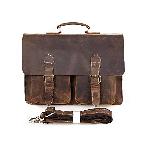 BAIGIO Handmade Briefcase Top Grain Leather Laptop Bag Messenger Shoulder Bag for Business Office 15 inch Macbook (Brown) (Cowhide Top Grain Briefcase)