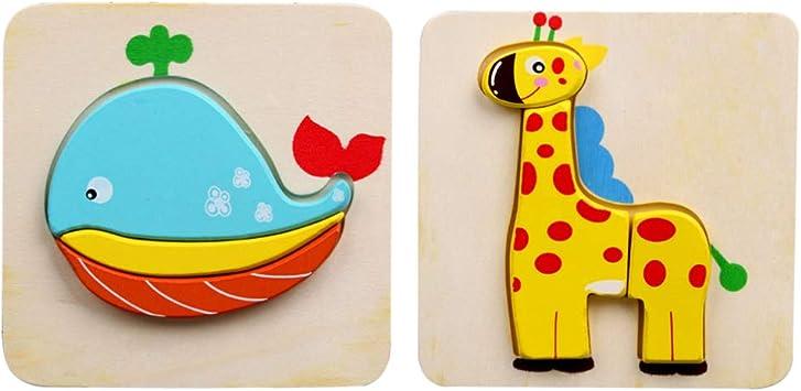 TOYANDONA 2 Juegos de Rompecabezas de Animales de Madera Rompecabezas Estéreo Jugando Juguete Formas de Animales Juguetes de Mesa para Preescolar Juego Educativo de Regalo (Jirafa + Ballena): Amazon.es: Juguetes y juegos