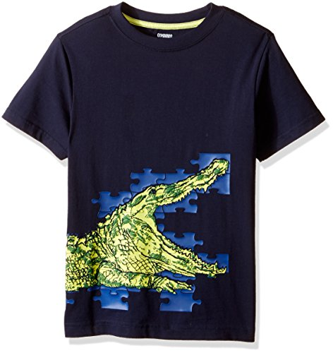 Gymboree Boys' Puzzled Crocodile Graphic Tee, Tornado Heather, X-Small