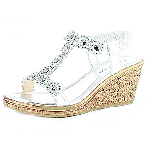 Heavenly Feet - Sandalias mujer, color plateado, talla 40 EU