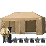 (18+ colors)ABCCANOPY Deluxe 10x20 Pop up Canopy Outdoor Party Tent Commercial Gazebo with Enclosure Walls and Wheeled Carry Bag Bonus 6x Weight Bag and 2x Half Walls and 1x screen wall (beige)