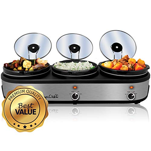 (MegaChef MC-1203 Triple 2.5 Quart Slow Cooker and Buffet Server in Brushed Silver and Black Finish with 3 Ceramic Cooking Pots and Removable Lid Rests)