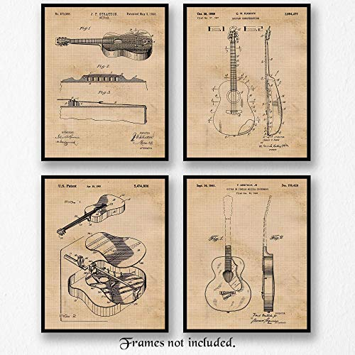 (Original Guitar Patent Poster Prints- Set of 4 (Four 8x10) Unframed Photos- Great Wall Art Decor Gifts Under $20 for Home, Office, Garage, Man Cave, Band, School, Student, Teacher, Rock & Roll Fan)
