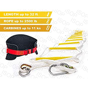 ISOP Emergency Fire Escape Ladder 8-25 ft Flame Resistant Safety Rope Ladder with Hooks - Reusable - Weight Capacity up to 2000 Pounds (32ft)