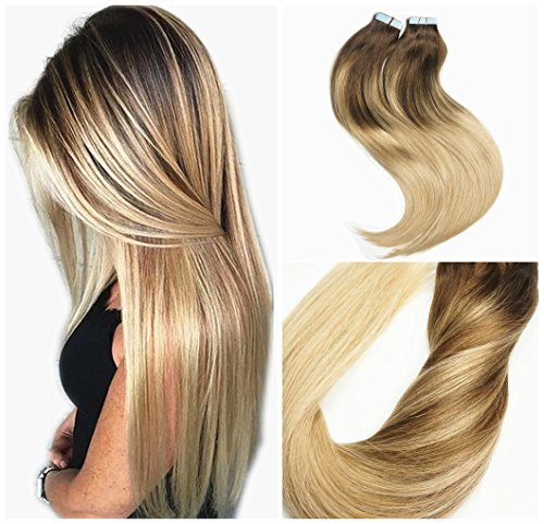 Alizée 20 Inch Real Human Hair Balayage Clip in Hair Extensions Dirty Ash Blonde Highlights on Chocolate Brown Ombre Color #4/18 Natural Clip On for Women 120g/7pcs