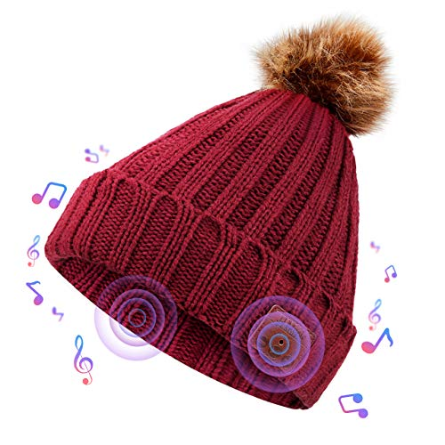 Onesiall Bluetooth Beanie Hat Headphones[Upgraded], Bluetooth 4.2 Headset Winter Music Hat Knit Cap with Stereo Speaker, Microphone, Hand-Free Compatible with Cellphone/iPad and So On.