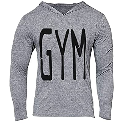 Chen Mens Gym Letter Print Pullover Hoodie Muscle Workout Bodybuilding Sweatshirt Tee Shirt Tops