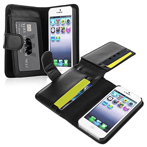 iPhone SE Case, Insten Leather Case with Wallet Compatible with Apple iPhone 5SE / 5S / 5, Black