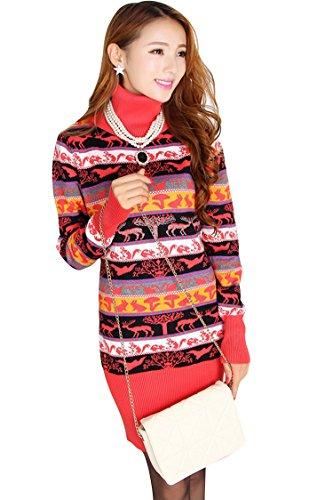 Pink Queen Womens High Collar Nordic Pattern Ugly Christmas Sweater Dress Red