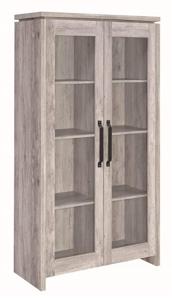 Coaster Home Furnishings 2-door Curio Cabinet Grey Driftwood and Clear by Coaster Home Furnishings