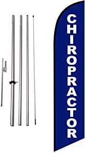 Chiropractor Chiropractic Office Advertising Feather Banner Swooper Flag Sign with Flag Pole Kit and Ground Stake