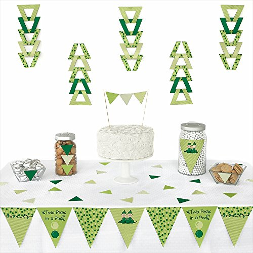 Big Dot of Happiness Twins Two Peas in a Pod - Triangle Baby Shower or Birthday Party Decoration Kit - 72 Pieces