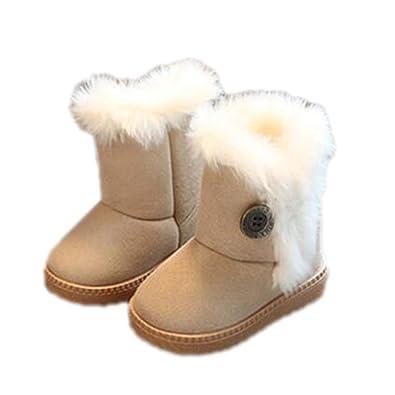 KIDS CHILDREN GIRLS WINTER WARM FUR LINED ZIP MID CALF SCHOOL BUCKLE BOOTS SIZE