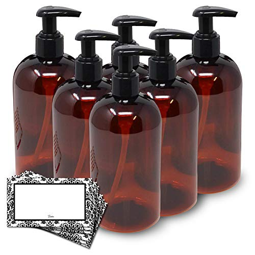 BAIRE BOTTLES - 16 OZ BROWN AMBER PLASTIC REFILLABLE BOTTLE with BLACK LOTION PUMPS - 6 Pack, BONUS 6 DAMASK LABELS - PET, Lightweight, BPA Free - ORGANIZE your Sink and Bath Area