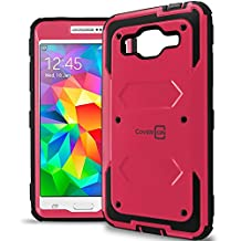Galaxy Grand Prime Case, CoverON® [Tank Series] Hybrid Hard Armor Protective Phone Case For Samsung Galaxy Grand Prime - Hot Pink & Black