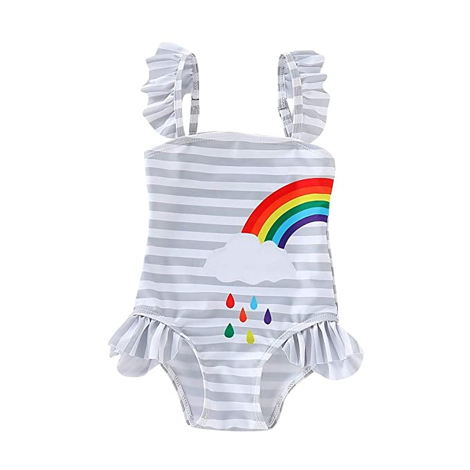 Bowknot Headbands Swimming Costume Jumpsuits Kids Summer Beach Clothes Bathing Suit Ages 1-4 Years Lonshell Baby Girls One Piece Mermaid Swimsuit