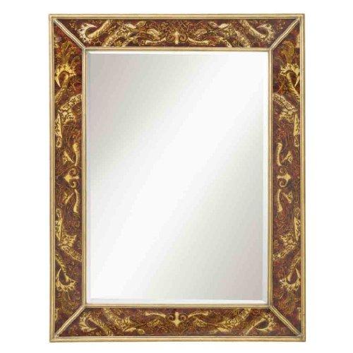 Kichler  78132 Crimson Leaf 46-Inch Beveled Mirror, Reverse Paint Glass Frame with Antique Gold Trim