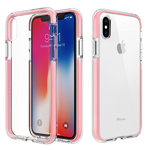 MoKo Case Compatible with iPhone Xs/iPhone X/iPhone 10, Clear Case with Light and Slim Flexible Bumper TPU Rubber Anti-Scratch Cover Fit with Apple iPhone Xs 2018 / iPhone X 2017 - Pink