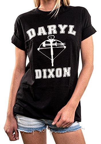Dary Dixon T-Shirt Oversized - Walking Dead Plus Size Top Women Long Black US 20-22 = XXL (Size T-shirt Plus Walking)