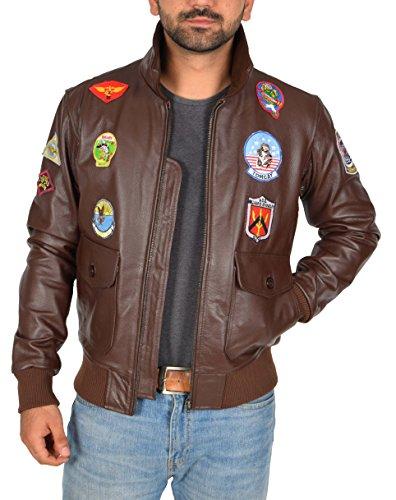 Badges Veste Bomber Aviateur Coiffer Pilote Cuir En Millésime Manteau Marron Homme Gun Top Leo IIaqz7wr