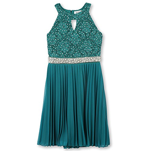 Speechless Big Girls' 7-16 Tween Party Dress Neck Cut-Out Pleated Skirt, Emerald, 12 -