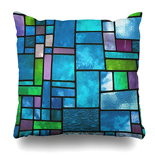 NOWCustom Throw Pillow Cover Spectrum Blue Color Multicolored Stained Glass Window Irregular Cathedral Abstract Church Pattern Zippered Pillowcase Square Size 18 x 18 Inches Home Decor Pillow Case