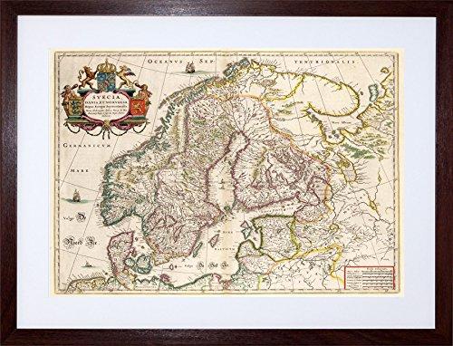 9x7 '' MAP ANTIQUE SCANDINAVIA NORWAY SWEDEN FINLAND FRAMED ART PRINT F97X509