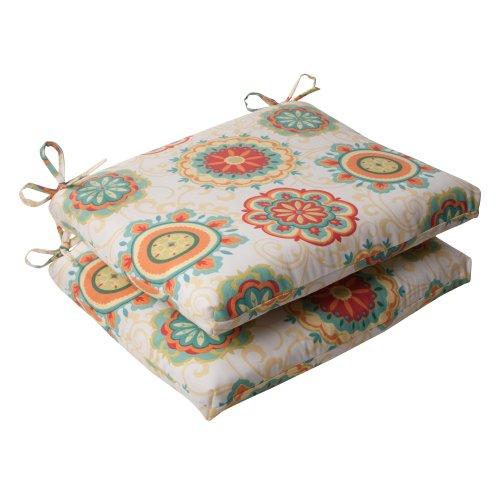 Pillow Perfect Indoor/Outdoor Fairington Squared Seat Cushion, Aqua, Set of 2