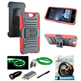 HTC One A9 Case - Mstechcorp, Full Body Rugged Holster Phone Cover with Swivel Belt Clip For HTC Aero A9 - Includes Accessories (Red)