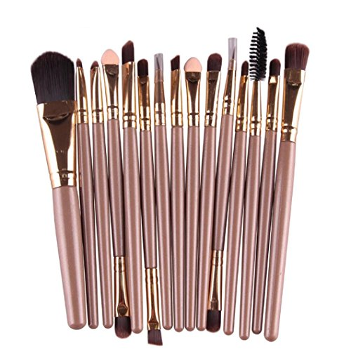 Binmer(TM)15 pcs/Sets Eye Shadow Foundation Eyebrow Lip Brush Makeup Brushes Tool (Gold)