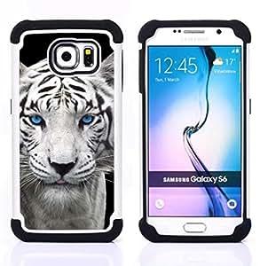 - snow leopard tiger puppy cute cub blue eyes/ H??brido 3in1 Deluxe Impreso duro Soft Alto Impacto caja de la armadura Defender - SHIMIN CAO - For Samsung Galaxy S6 G9200