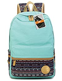 Leaper Casual Lightweight Canvas Laptop Bag Shoulder Bag School Backpack Large Water Blue