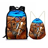 Showudesigns 2 PCS/Set School Bag 17 inch Backpack and Drawstring Bag for Kids Couple Horse