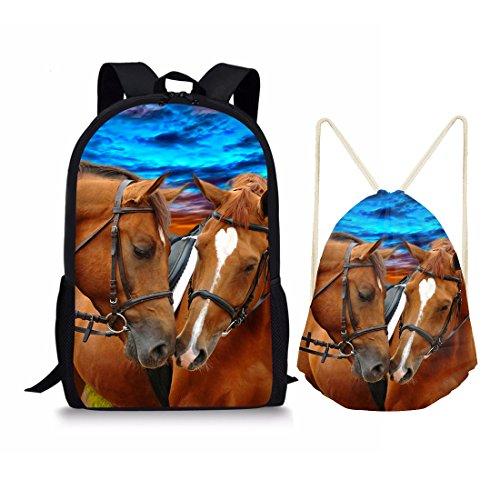 10 Pcs Each Bag - Showudesigns 2 PCS/Set School Bag 17 inch Backpack and Drawstring Bag for Kids Couple Horse