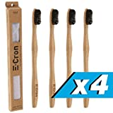 4 x E-Cron Bamboo Toothbrush (Black) with Eco-friendly, 100% organic and biodegradable toothbrush