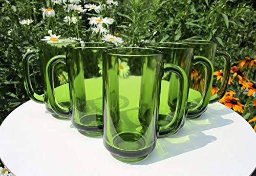 Green Glass Beer Mugs, Set of Five Handled Mugs, Vintage Barware, possibly unmarked Anchor Hocking ()
