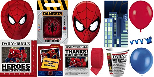 Spiderman Party Supplies for 8 Guests This Ultimate Party Pack Includes Masks, Invitations, Table Cover, Cups, Napkins, Plates, Treat Bags, Thank You Postcards, Curling Ribbon, Streamer, and Balloons - This Bundle Includes 93 Pieces!