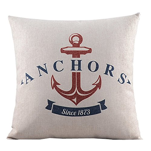 """Createforlife Cotton Linen Square Decorative Throw Pillow Case Cushion Cover Cartoon Ocean Anchor 18"""""""