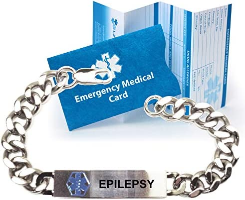 Pre-Engraved Epilepsy Traditional Stainless Steel Medical ID Bracelets for Men