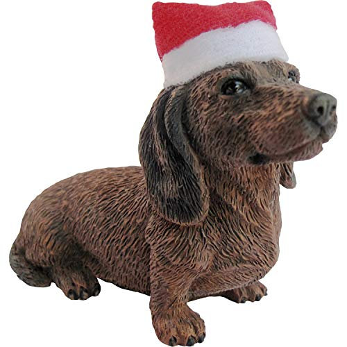 Sandicast Dachshund Red, Sitting with Santa Hat - Ornament (XSO04409)