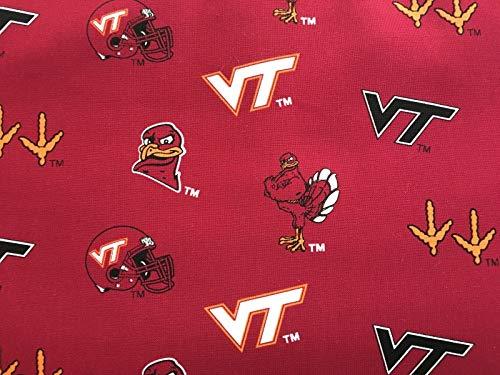 Virginia Tech Fine Cotton Classic Colored Ground Allover Design