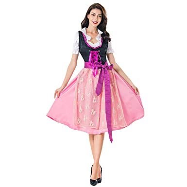 9b084549ceb Amazon.com  Clearance Women s German Dirndl Dress Off Shoulder Oktoberfest  Beer Girl Costume  Clothing