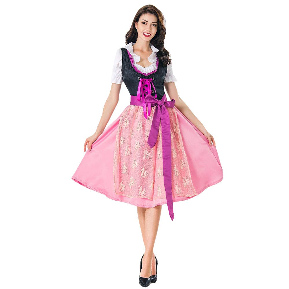 OCASHI 2018 Women Casual Oktoberfest Costume Short Sleeve Bavarian Beer Girl Drindl Tavern Maid Dress for Women (L, Pink)