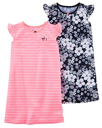 Carter's Girls' 2-Pack Neon Floral Sleep Gowns S (4/5) -