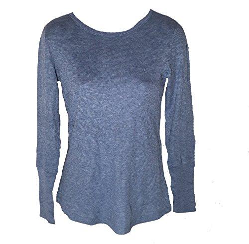 Orvis Womens Printed Waffel Long Sleeve Shirt, Heather Denim