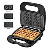 Laukingdom Waffle Maker, Sandwich Maker, Panini Press Grill,Toaster and 3-in-1 Detachable Non-stick Coating, Stainless...