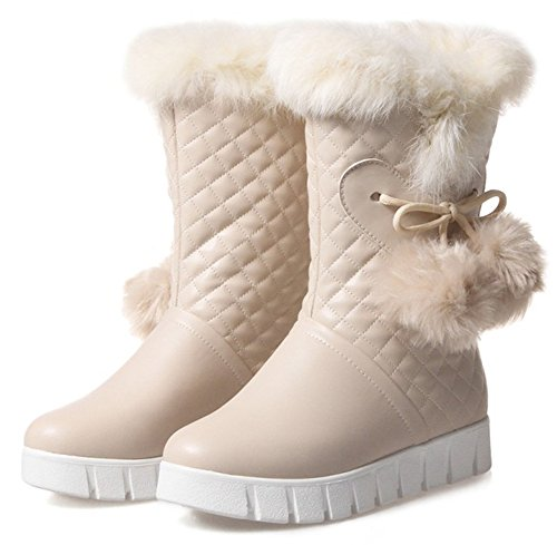 Slip Fur Fleece Faux on Warm Mid Summerwhisper Pompon Calf Plaid Snow Round Womens Lined Toe Flats Beige Boots Fluffy v7HnxCq