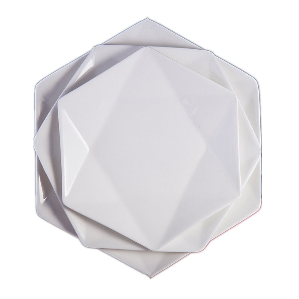 Huayoung Set of 3 Different Sizes-7/9/12-inch White Hexagonal Ceramic Plates Novelty Dinnerware Plates