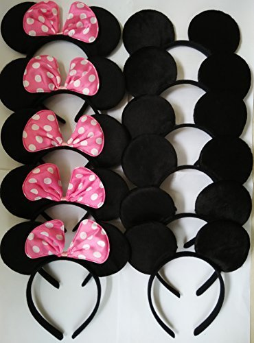 Minnie And Mickey Ears (CHuangQi Mouse Ears Solid Black and Pink Bow Headband for Boys&Girls Birthday Party)